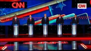 GOP candidates at the CNN GOP presidential debate in Houston, Texas on February 25, 2016.